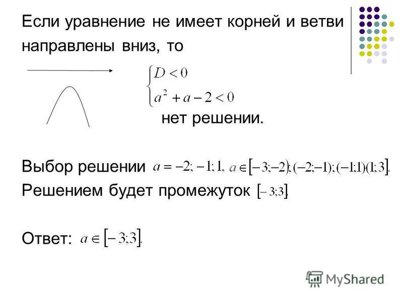 Если уравнение не имеет корней и ветви направлены вниз, то нет решении. Выбор решении Решением будет промежуток Ответ:
