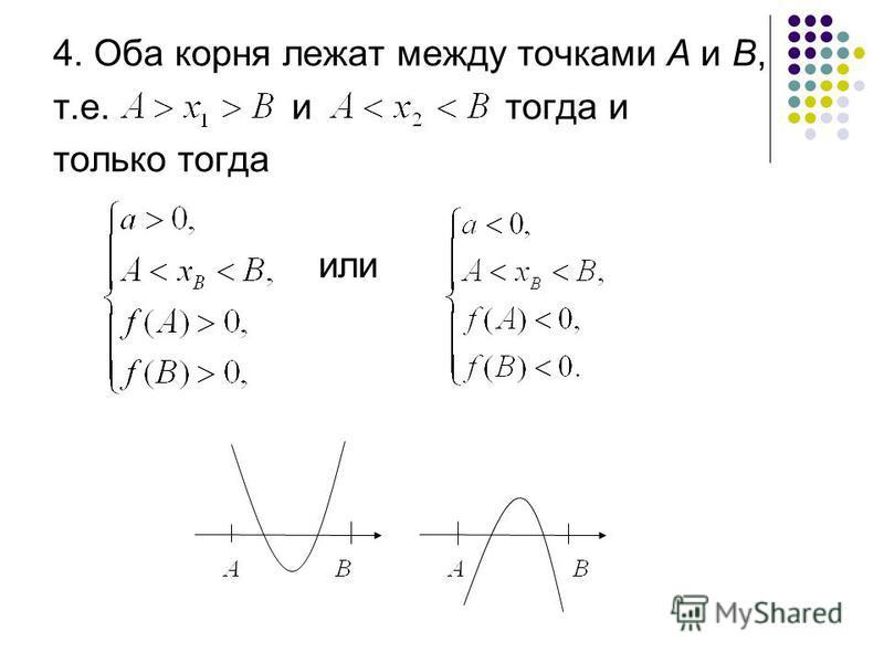4. Оба корня лежат между точками А и В, т.е. и тогда и только тогда или