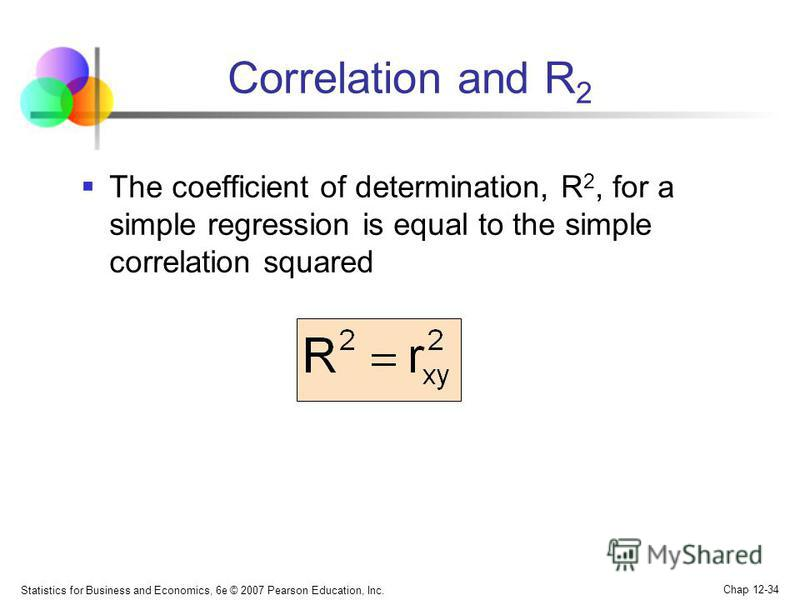 Statistics for Business and Economics, 6e © 2007 Pearson Education, Inc. Chap 12-34 Correlation and R 2 The coefficient of determination, R 2, for a simple regression is equal to the simple correlation squared