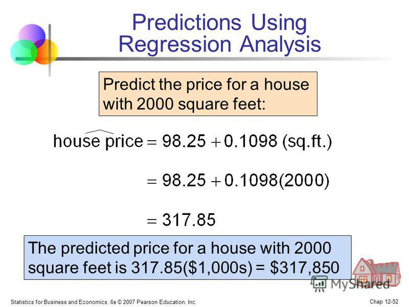 Statistics for Business and Economics, 6e © 2007 Pearson Education, Inc. Chap 12-52 Predict the price for a house with 2000 square feet: The predicted price for a house with 2000 square feet is 317.85($1,000s) = $317,850 Predictions Using Regression
