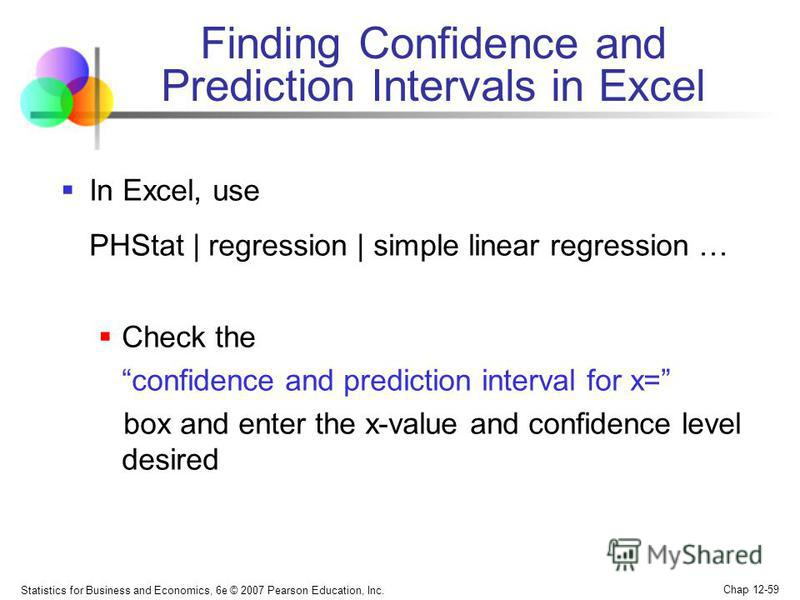 Statistics for Business and Economics, 6e © 2007 Pearson Education, Inc. Chap 12-59 Finding Confidence and Prediction Intervals in Excel In Excel, use PHStat | regression | simple linear regression … Check the confidence and prediction interval for x