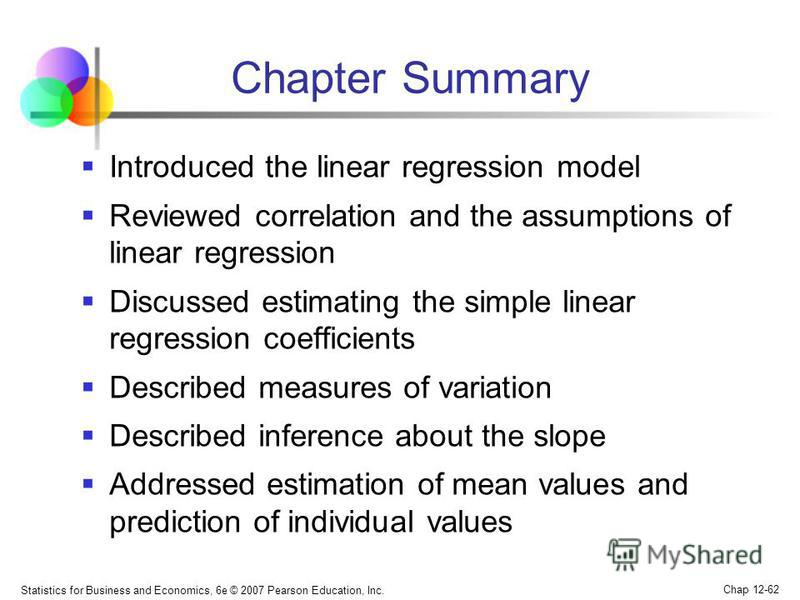 Statistics for Business and Economics, 6e © 2007 Pearson Education, Inc. Chap 12-62 Chapter Summary Introduced the linear regression model Reviewed correlation and the assumptions of linear regression Discussed estimating the simple linear regression