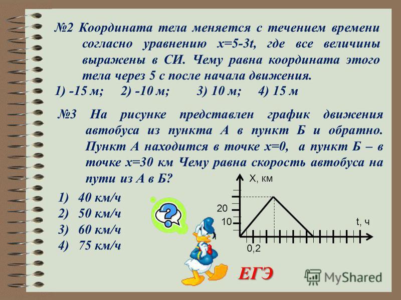 2 Координата тела меняется с течением времени согласно уравнению x=5-3t, где все величины выражены в СИ. Чему равна координата этого тела через 5 с после начала движения. 1) -15 м; 2) -10 м; 3) 10 м; 4) 15 м 3 На рисунке представлен график движения а