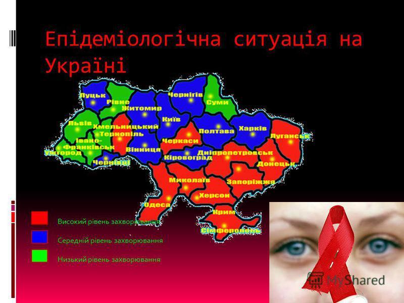 Епідеміологічна ситуація на Україні Високий рівень захворювання Середній рівень захворювання Низький рівень захворювання