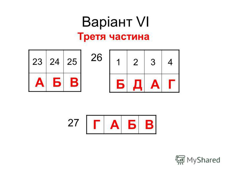 Варіант VІ 232425 Третя частина АБВ 1234 БДАГ 26 ГАБВ 27