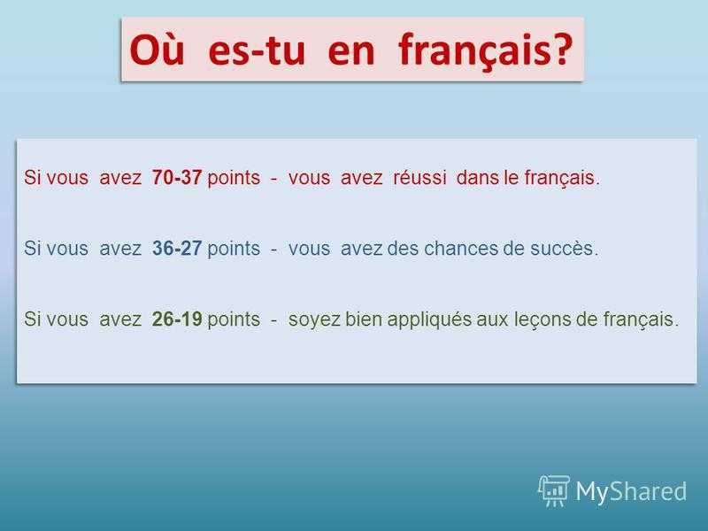 Où es-tu en français? Si vous avez 70-37 points - vous avez réussi dans le français. Si vous avez 36-27 points - vous avez des chances de succès. Si vous avez 26-19 points - soyez bien appliqués aux leçons de français. Si vous avez 70-37 points - vou
