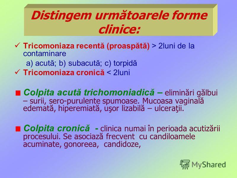 Distingem următoarele forme clinice: Tricomoniaza recentă (proaspătă) > 2luni de la contaminare a) acută; b) subacută; c) torpidă Tricomoniaza cronică < 2luni Colpita acută trichomoniadică – eliminări gălbui – surii, sero-purulente spumoase. Mucoasa