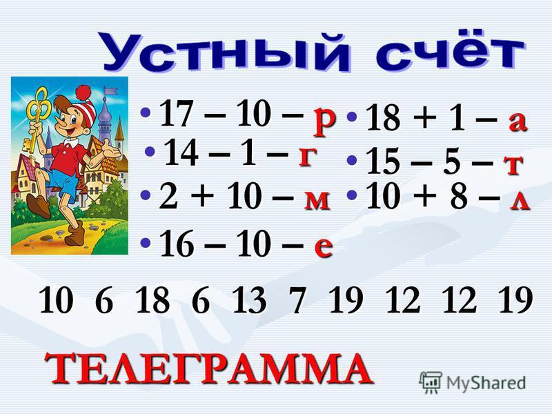 17 – 10 – р 17 – 10 – р 14 – 1 – г 14 – 1 – г 2 + 10 – м 2 + 10 – м 16 – 10 – е 16 – 10 – е 18 + 1 – а 18 + 1 – а 15 – 5 – т 15 – 5 – т 10 + 8 – л 10 + 8 – л 10 6 18 6 13 7 19 12 12 19 ТЕЛЕГРАММА ТЕЛЕГРАММА