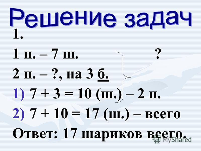 1. 1 п. – 7 ш. ? 2 п. – ?, на 3 б. 1) 7 + 3 = 10 (ш.) – 2 п. 2) 7 + 10 = 17 (ш.) – всего Ответ: 17 шариков всего.