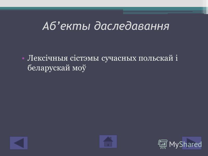 Абекты даследавання Лексічныя сістэмы сучасных польскай і беларускай моў