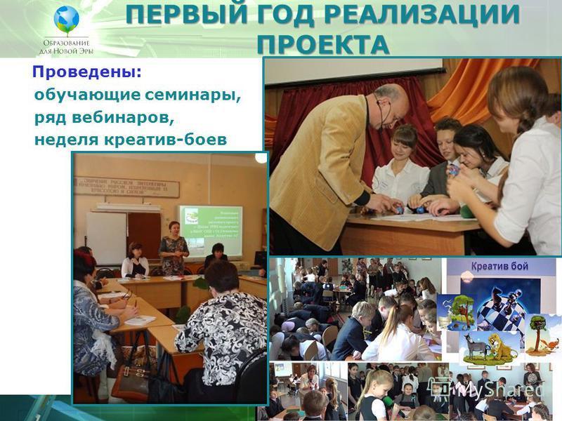 ПЕРВЫЙ ГОД РЕАЛИЗАЦИИ ПРОЕКТА Проведены: обучающие семинары, ряд вебинаров, неделя креатив-боев
