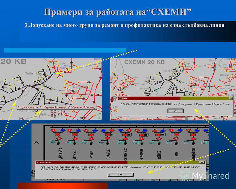 Примери за работата наСХЕМИ Примери за работата наСХЕМИ 3.Допускане на много групи за ремонт и профилактика на една стълбовна линия