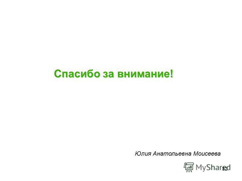 32 Спасибо за внимание! Юлия Анатольевна Моисеева
