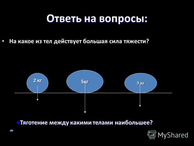 Ответь на вопросы: На какое из тел действует большая сила тяжести? 5 кг 2 кг 3 кг Тяготение между какими телами наибольшее? Тяготение между какими телами наибольшее?