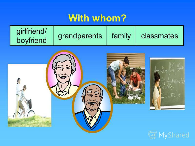 With whom? girlfriend/ boyfriend grandparentsfamilyclassmates