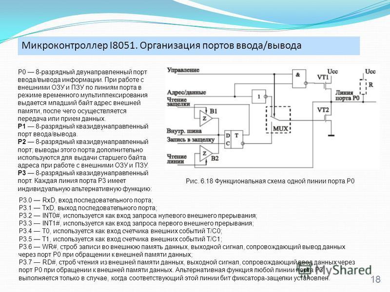 Микроконтроллер I8051. Организация портов ввода/вывода 18 P0 8-разрядный двунаправленный порт ввода/вывода информации. При работе с внешними ОЗУ и ПЗУ по линиям порта в режиме временного мультиплексирования выдается младший байт адрес внешней памяти,