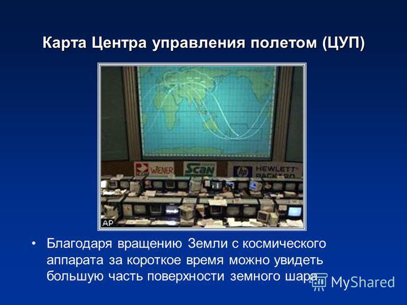 Карта Центра управления полетом (ЦУП) Благодаря вращению Земли с космического аппарата за короткое время можно увидеть большую часть поверхности земного шара.