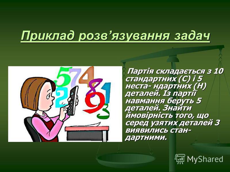 Приклад розвязування задач Партія складається з 10 стандартних (С) і 5 неста- ндартних (Н) деталей. Із партії навмання беруть 5 деталей. Знайти ймовірність того, що серед узятих деталей 3 виявились стан- дартними. Партія складається з 10 стандартних