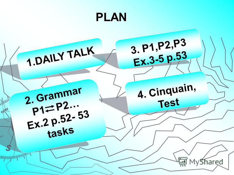 PLAN 1.DAILY TALK 2. Grammar P1 P2… Ex.2 p.52- 53 tasks 3. P1,P2,P3 Ex.3-5 p.53 4. Cinquain, Test