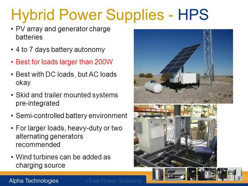 Hybrid Power Supplies - HPS PV array and generator charge batteries 4 to 7 days battery autonomy Best for loads larger than 200W Best with DC loads, but AC loads okay Skid and trailer mounted systems pre-integrated Semi-controlled battery environment