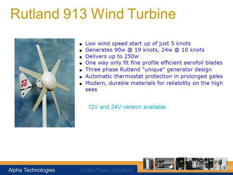 Rutland 913 Wind Turbine 12V and 24V version available