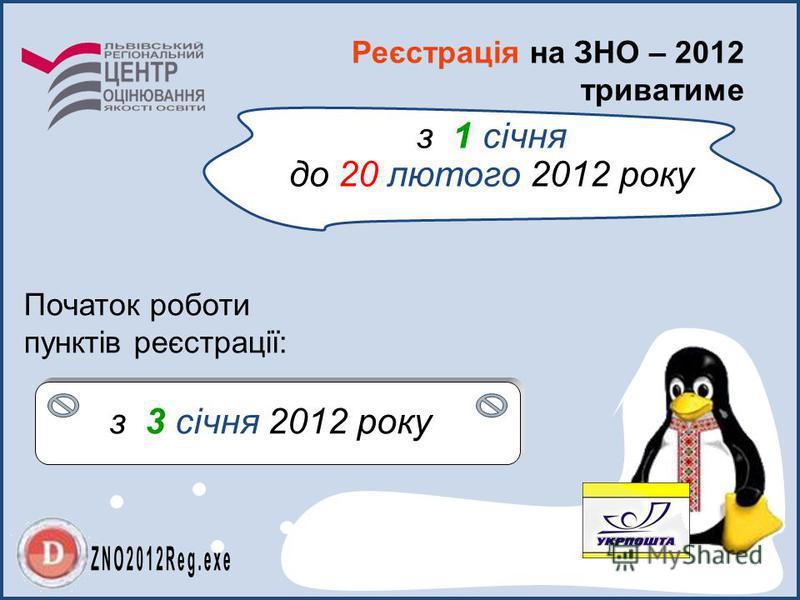 Реєстрація на ЗНО – 2012 триватиме Початок роботи пунктів реєстрації: з 1 січня до 20 лютого 2012 року з 3 січня 2012 року