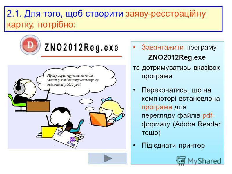 Завантажити програму ZNO2012Reg.exe та дотримуватись вказівок програми Переконатись, що на компютері встановлена програма для перегляду файлів pdf- формату (Adobe Reader тощо) Підєднати принтер Завантажити програму ZNO2012Reg.exe та дотримуватись вка