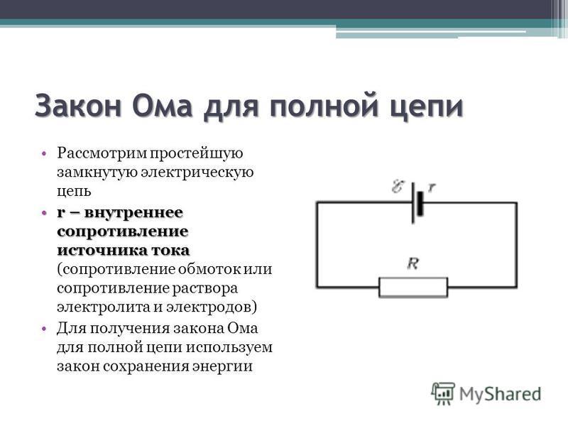 Закон Ома для полной цепи Рассмотрим простейшую замкнутую электрическую цепь r – внутреннее сопротивление источника токаr – внутреннее сопротивление источника тока (сопротивление обмоток или сопротивление раствора электролита и электродов) Для получе