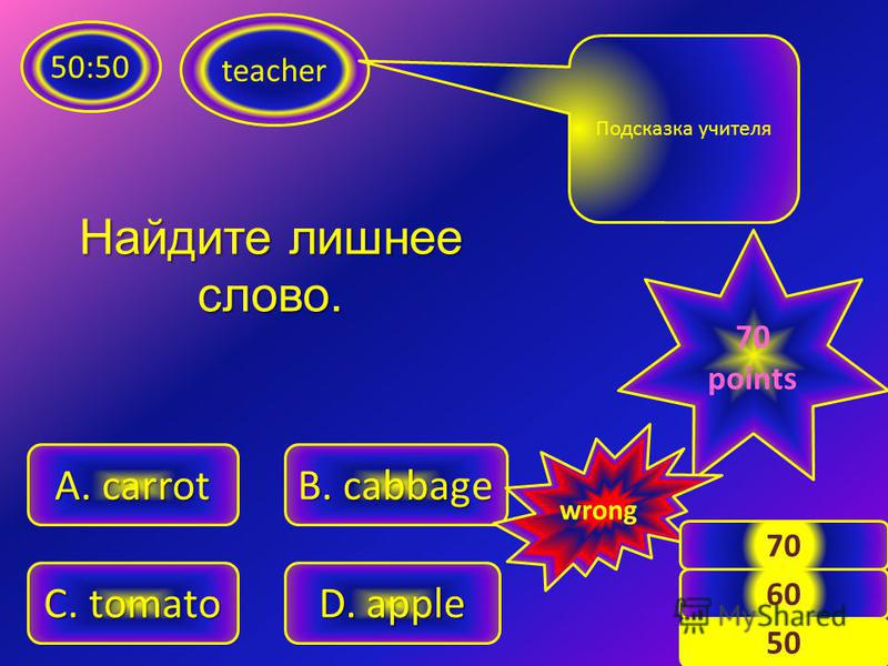 teacher 50:50 A. angry C. stupid B. good D. strong Подсказка учителя 60 points wrong 8 50 60 Какое слово переводится как «глупый»?