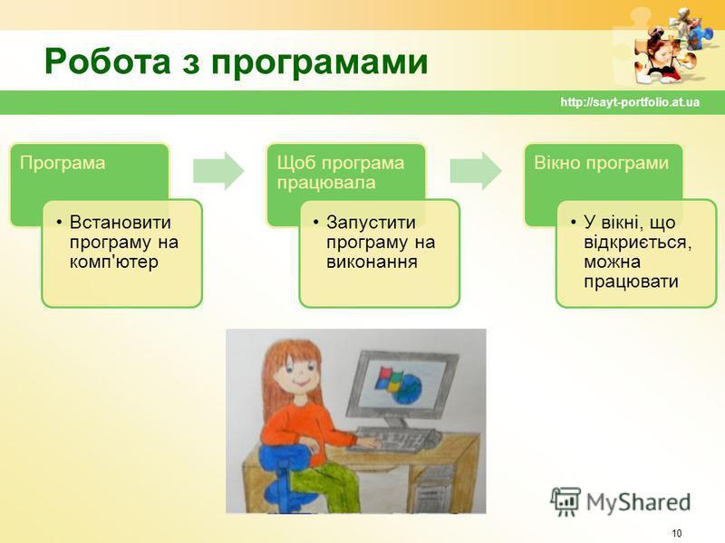 Робота з програмами Програма Встановити програму на комп'ютер Щоб програма працювала Запустити програму на виконання Вікно програми У вікні, що відкриється, можна працювати 10 http://sayt-portfolio.at.ua