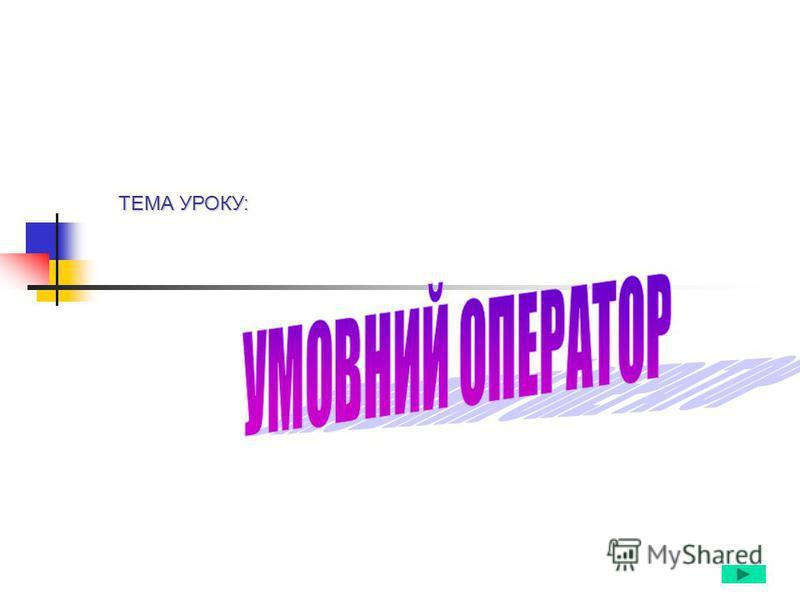 ТЕМА УРОКУ:
