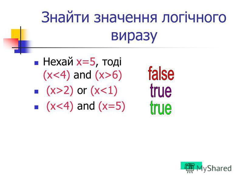 Знайти значення логічного виразу Нехай х=5, тоді (х 6) (x>2) or (x<1) (x<4) and (x=5)
