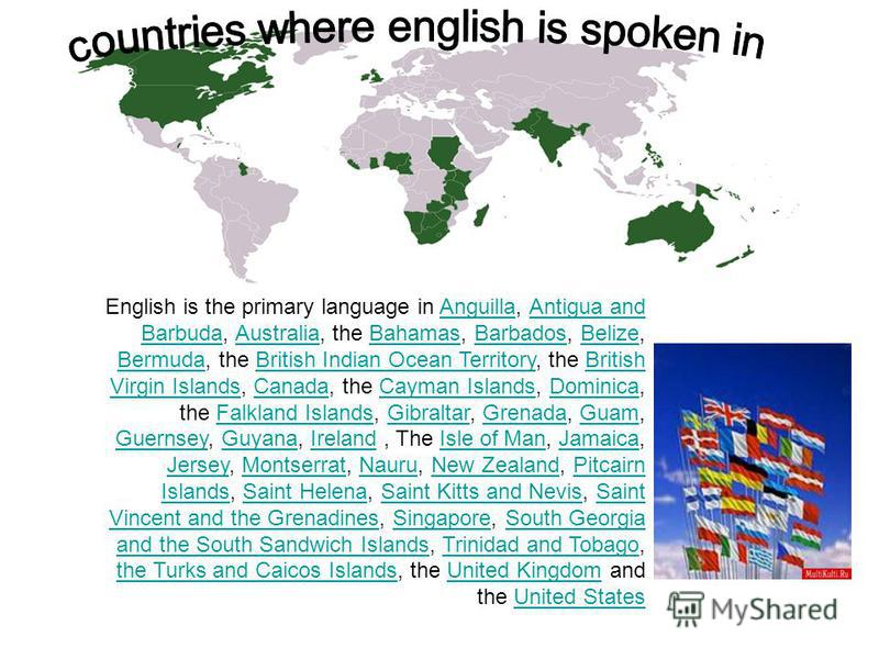 English is the primary language in Anguilla, Antigua and Barbuda, Australia, the Bahamas, Barbados, Belize, Bermuda, the British Indian Ocean Territory, the British Virgin Islands, Canada, the Cayman Islands, Dominica, the Falkland Islands, Gibraltar