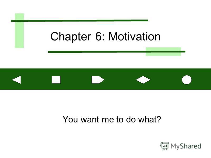 Chapter 6: Motivation You want me to do what?