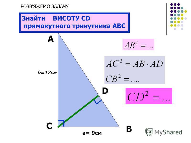 А С В b a 925 Знайти невідомі лінійні елементи прямокутного трикутника АВС D РОЗВЯЖЕМО ЗАДАЧУ