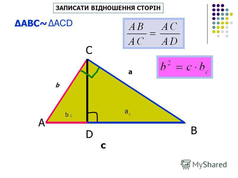 В D b a c b C a C ВКАЗАТИ ПОДІБНІ ТРИКУТНИКИ А С A ВС ~ A СD~ СВ D