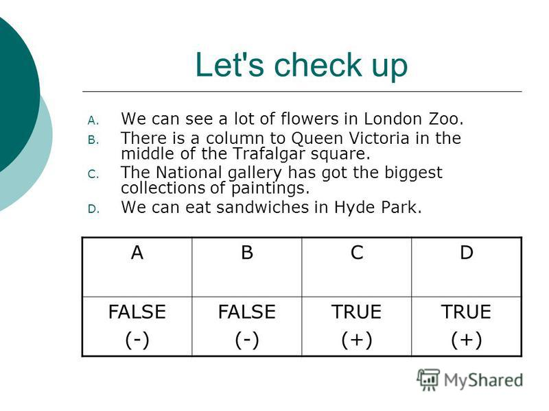 True (+) or false (-)? A. We can see a lot of flowers in London Zoo. B. There is a column to Queen Victoria in the middle of the Trafalgar square. C. The National gallery has got the biggest collections of paintings. D. We can eat sandwiches in Hyde