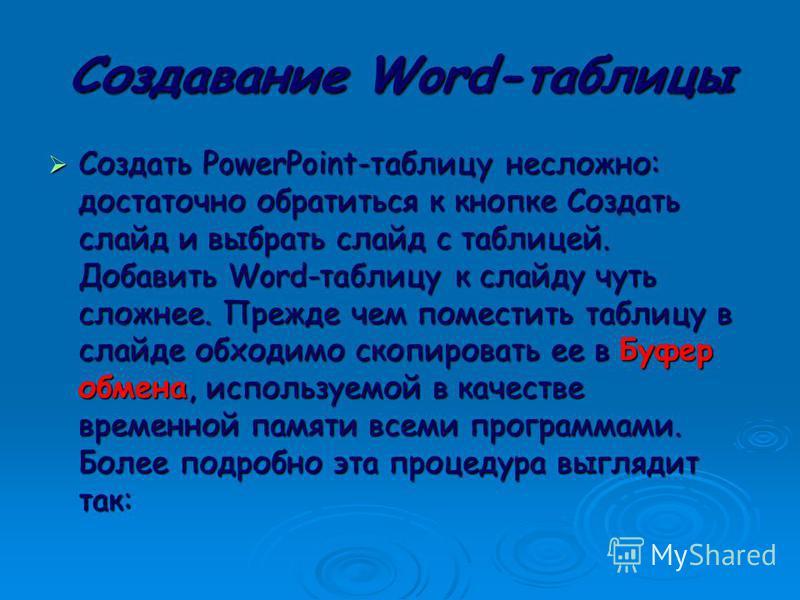 Использование Word-таблицы в PowerPoint. Мы можем создавать таблицы в PowerPoint. Но если мы уже создали таблицу в Word,, Мы можем создавать таблицы в PowerPoint. Но если мы уже создали таблицу в Word,, нужно, использовать ее в презентации. Мы можем