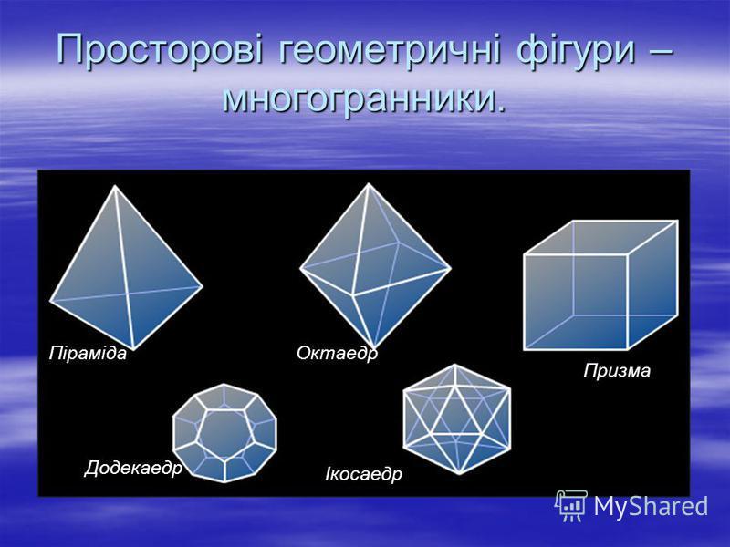 Просторові геометричні фігури – многогранники. Піраміда Призма Октаедр Додекаедр Ікосаедр