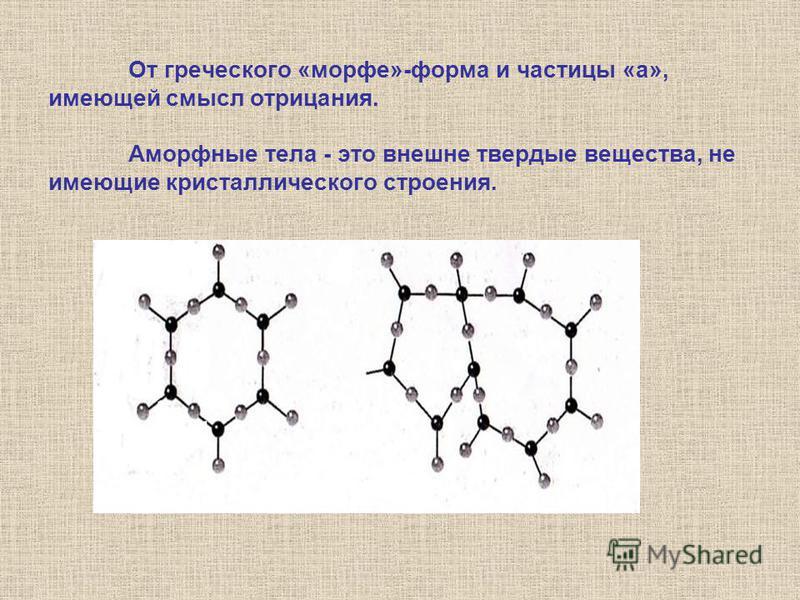 От греческого «морфе»-форма и частицы «а», имеющей смысл отрицания. Аморфные тела - это внешне твердые вещества, не имеющие кристаллического строения.