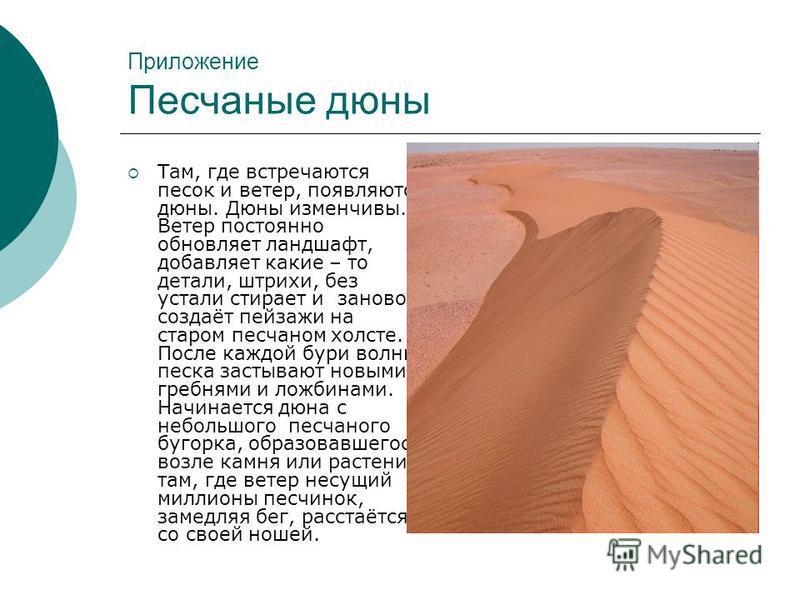 Приложение Песчаные дюны Там, где встречаются песок и ветер, появляются дюны. Дюны изменчивы. Ветер постоянно обновляет ландшафт, добавляет какие – то детали, штрихи, без устали стирает и заново создаёт пейзажи на старом песчаном холсте. После каждой