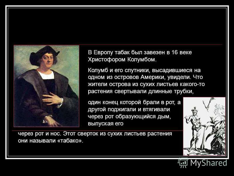В Европу табак был завезен в 16 веке Христофором Колумбом. Колумб и его спутники, высадившиеся на одном из островов Америки, увидели. Что жители острова из сухих листьев какого-то растения свертывали длинные трубки, через рот и нос. Этот сверток из с