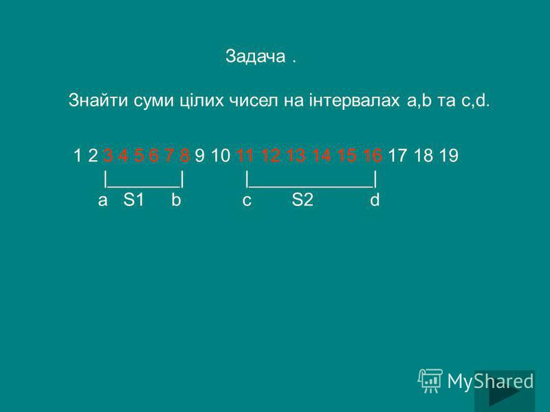 Задача. Знайти суми цілих чисел на інтервалах a,b тa c,d. 1 2 3 4 5 6 7 8 9 10 11 12 13 14 15 16 17 18 19 |_______| |____________| a S1 b c S2 d