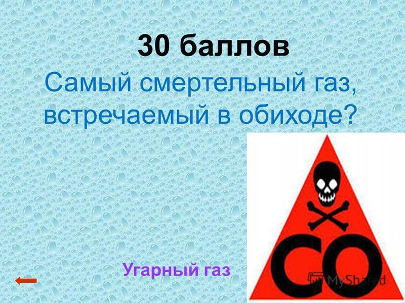 30 баллов Угарный газ Самый смертельный газ, встречаемый в обиходе?