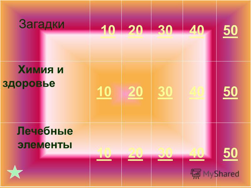 Загадки 10 20 30 40 50 Химия и здоровье 10 20 30 40 50 Лечебные элементы 10 20 30 40 50