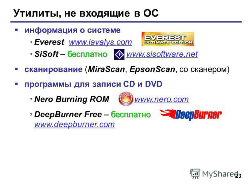 23 Утилиты, не входящие в ОС информация о системе Everest www.lavalys.comwww.lavalys.com бесплатноSiSoft – бесплатно www.sisoftware.netwww.sisoftware.net сканирование (MiraScan, EpsonScan, со сканером) программы для записи CD и DVD Nero Burning ROM w