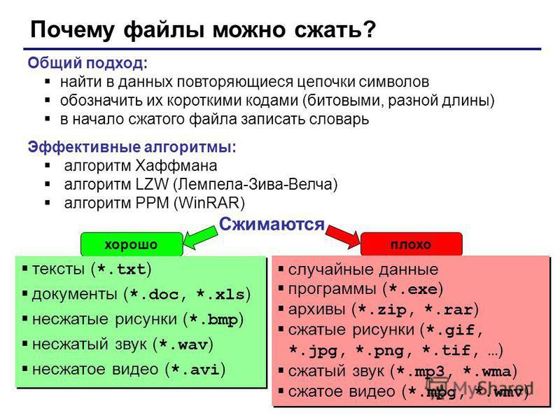 51 Почему файлы можно сжать? Общий подход: найти в данных повторяющиеся цепочки символов обозначить их короткими кодами (битовыми, разной длины) в начало сжатого файла записать словарь Эффективные алгоритмы: алгоритм Хаффмана алгоритм LZW (Лемпела-Зи