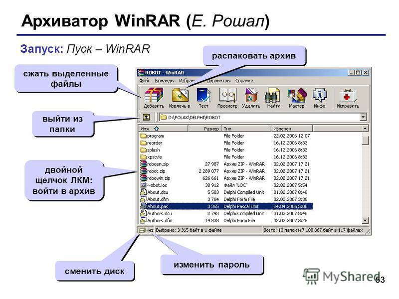 53 Архиватор WinRAR (Е. Рошал) Запуск: Пуск – WinRAR сжать выделенные файлы распаковать архив изменить пароль сменить диск двойной щелчок ЛКМ: войти в архив выйти из папки