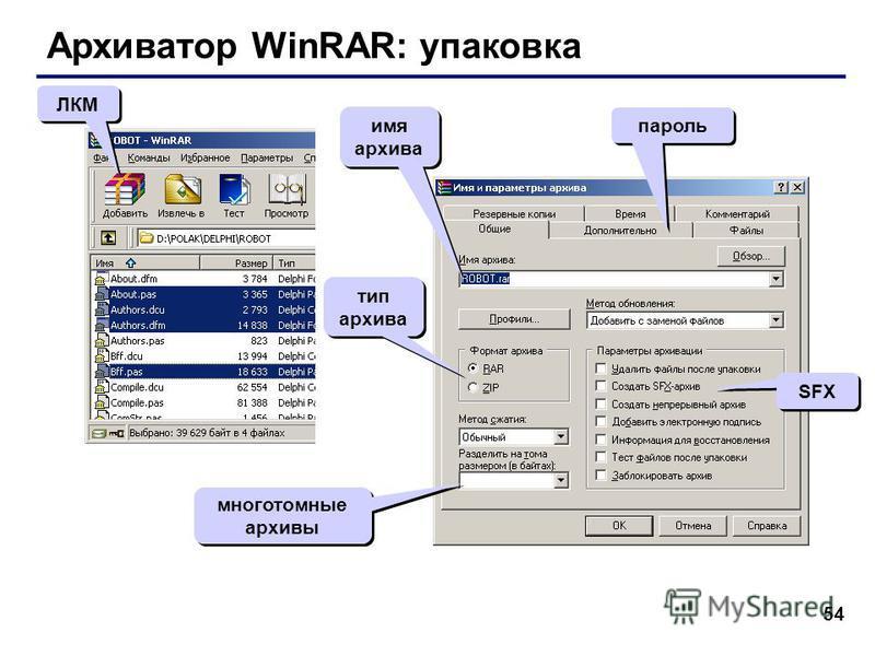 54 Архиватор WinRAR: упаковка ЛКМ тип архива SFX многотомные архивы пароль имя архива