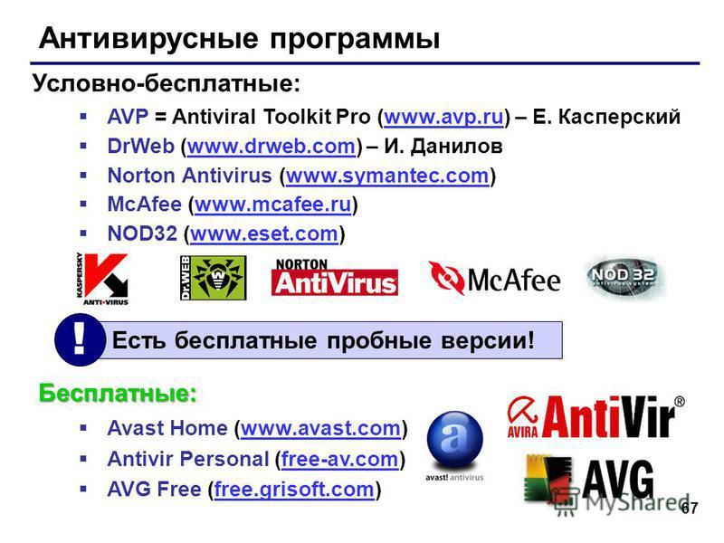 67 Антивирусные программы AVP = Antiviral Toolkit Pro (www.avp.ru) – Е. Касперскийwww.avp.ru DrWeb (www.drweb.com) – И. Даниловwww.drweb.com Norton Antivirus (www.symantec.com)www.symantec.com McAfee (www.mcafee.ru)www.mcafee.ru NOD32 (www.eset.com)w